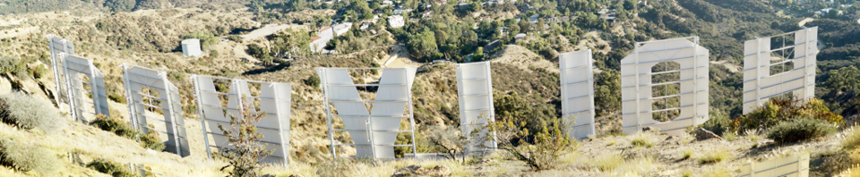 Behind Hollywood Sign Banner